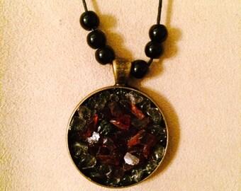 Garnet/ Crystal pendant necklace