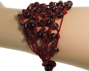 Bracelet Burgundy Handmade With Luminous Crystals