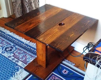 Matching Two-Tone Trestle Leg Coffee Table and End Table