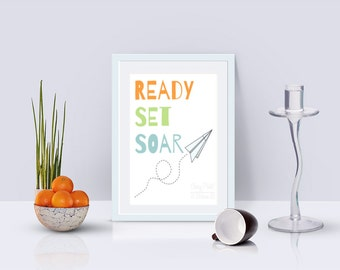Ready Set Soar Paper Airplane Print