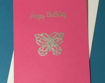 Happy Birthday Greeting Cards Blank Pink Teal Silver Glitter Embossed Butterfly