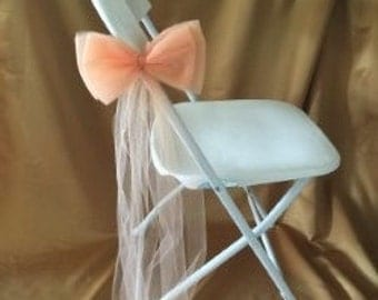 CHAIR FLAT DOUBLE Bows Peach Quality Tulle Sold In Sets Of 6  Three Designs