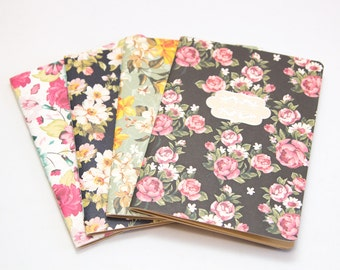 Floral notebooks with kraft paper pages | vintage garden series