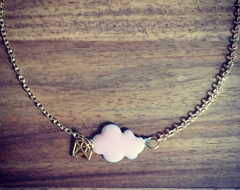 Collier nuage rose diamant plaque or