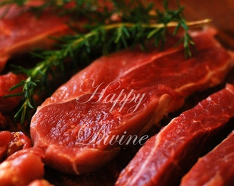 """Digital Photo Picture """" Raw Fresh Red Meat on Cutting Board """""""