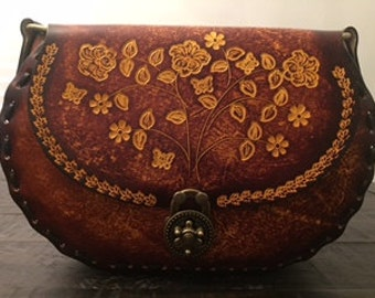 Leather Satchel with handpainted flowers
