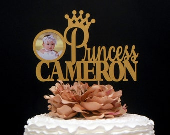 First Birthday Glitter Topper, Personalize 1st Birthday Cake Topper, Gold Princess Crown Cake Topper, Birthday Crown Cake Topper