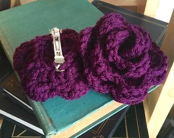 Flower hair clip, crochet rose barrette