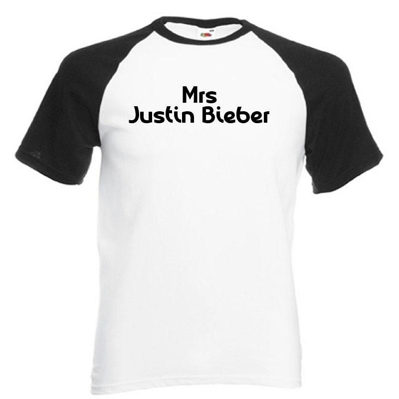 Mrs justin bieber white with black baseball t shirt belieber for Justin bieber black and white shirt