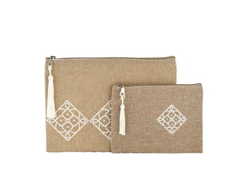 Set of two Moroccan kits with Berber pattern - Matrouza - fabric jute and Pompom (tassel) in sabra - white