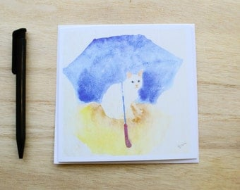 Greeting Card Watecolour Cat with Blue Umbrella