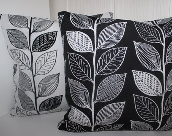 Cushion cover leaves on black - all sizes feasible 40 x 40 cm