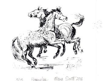 Horseplay screen print line drawing of horses at play