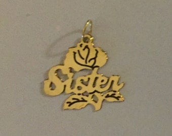 14 Karat Yellow Gold Rose Flower for a Sister Charm 14mm tall