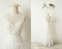 Beaded beach wedding dress, Boho wedding dress, beach wedding dress, open back boho wedding dress, boho dress, Petit Bonheur