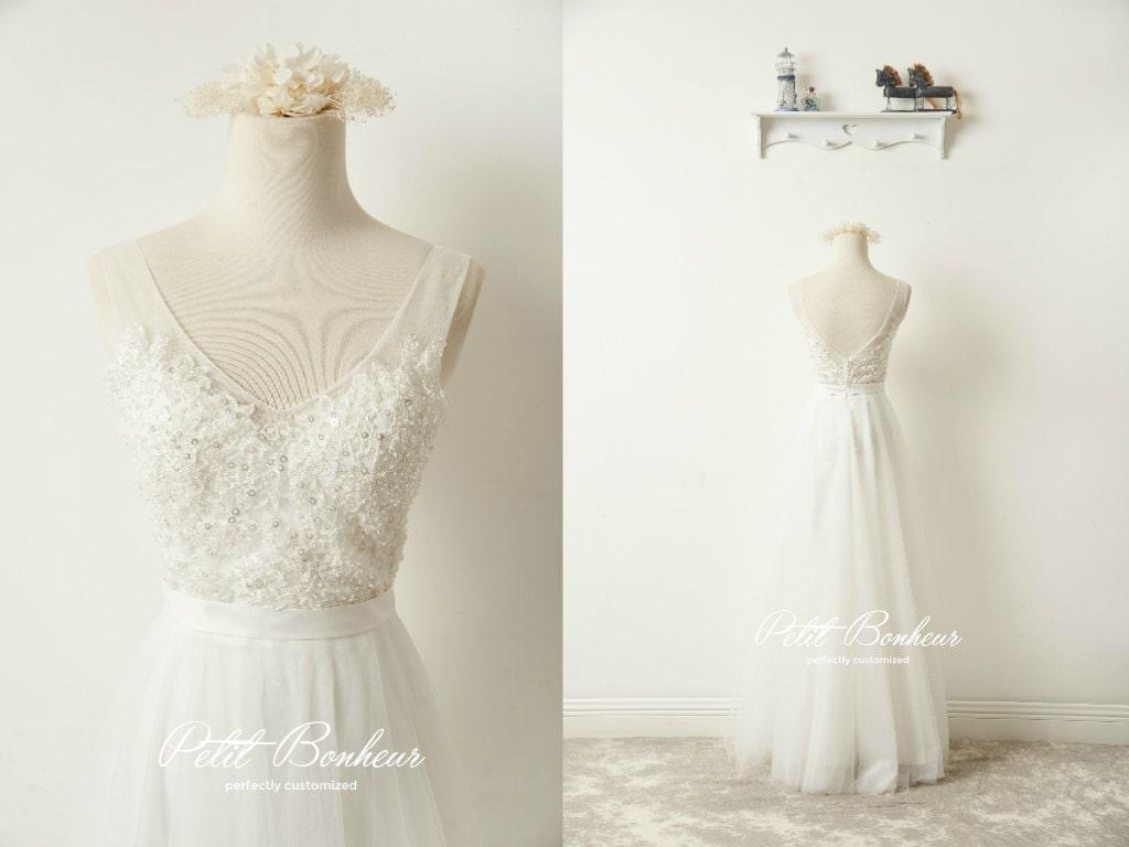 Etsy Boho Beach Wedding Dress Beaded By Petitbonheurstudio
