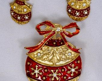Christmas Jewelry Set, brooch and pierced earrings