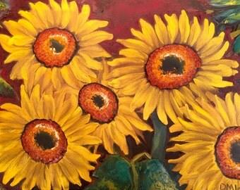 Sunflower Painting, sunflower decor, Sunflower Art, Sunflower Oil Painting, Sunflowers Oil Painting, Yellow Flower Garden, sunflower