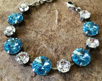 AQUAMARINE Swarovski crystal 12mm/8mm bracelet