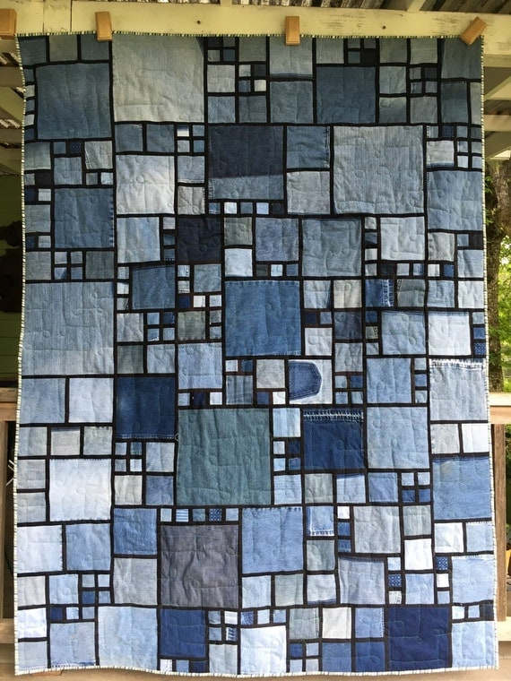 Stained Glass Denim Quilt Pattern
