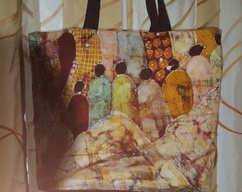 Bags, shopping or beach in African Batik fabrics.