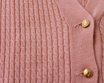 Shorn wool cardigan, like new! Best-quality, gold buttons, Gr.40