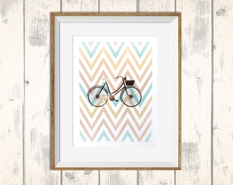 Retro Bicycle Metallic Foil Print