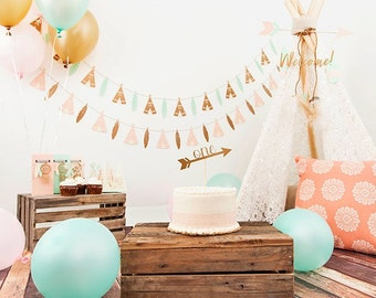 Teepee & Leaf Birthday Party Banner