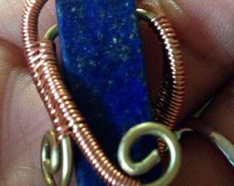 Lapis Lazuli wire pendant