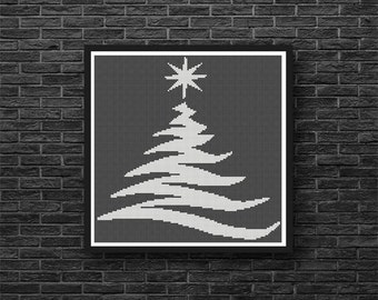 Silhoutte Christmas Tree Holiday Any Color Counted Cross Stitch or Needle Point Pattern - PDF Digital Download
