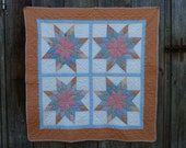"Antique Hand Pieced Hand Quilted Peach & Lt. Blue Wall Hanging 38"" X 40"""