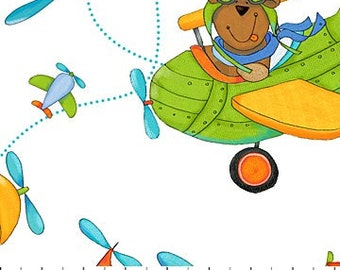Northcott - Baby Zoom - Flying High - Teddy Bear -White Teddy Bear Fabric