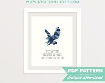 50% OFF SALE, Ravenclaw Cross Stitch Pattern, Hogwarts Cross Stitch Chart, Harry Potter, TV Show Counted Cross Stitch Pattern, Modern Decor
