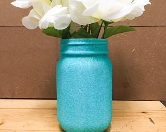 Turquoise fine glitter mason jar