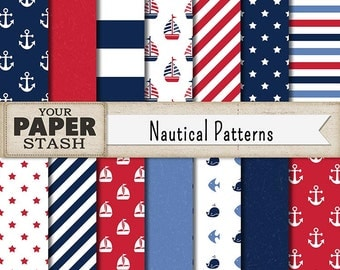 Nautical Digital Paper, Navy Blue, Red, Nautical Backgrounds, Nautical Scrapbook Paper, Striped, Sailboats, Fish, Whales, Commercial Use