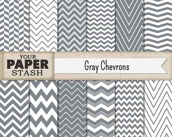 Chevron Digital Paper, Gray Chevron, Gray, Zig Zag, Digital Paper Pack, Scrapbook Paper, Chevron Background, Chevron Paper, Commercial Use