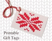 Red Snowflake Knitted Gift Tags / Printable Knitting Gift Tags / Christmas Gift Tags / Knitter Scrapbook Tags /