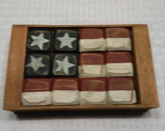 Wood Box With Flag Blocks