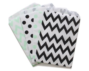 Party Favor Bag, Paper Favor Bags, Black and Mint Green Polka Dot Chevron Paper Favor Bags, 1st Birthday Party Favor, Baby Shower Favor Bags