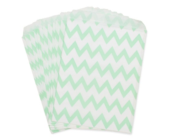 Party Favor Bag, Paper Favor Bags, Mint Green Chevron Favor Bags, Mint to Be Favor Bags, Mint Wedding Favors, Bridal Shower, 1st Birthday