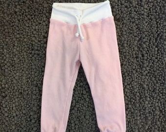 Pink & white cuffed leggings