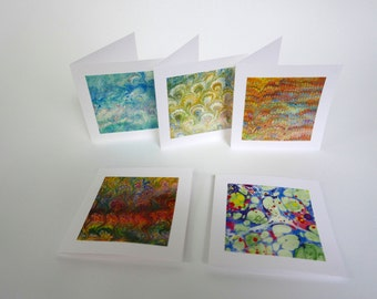 5 cards marbled paper - 3