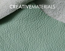 """Premium Leather 8""""x8"""" 20x20 cm leather piece Light Green exclusive genuine leather 2-2.5 oz / 0,8-1 mm Made in Italy Creative Materials"""