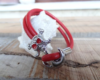 EXPRESS SHIPPING,Men's Red Leather Bracelet,Men's Jewelry,Chrome Skulls Bracelet,Men's Cuff Bracelet, Valentine's Gifts, Father's Day Gifts