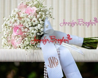 Monogrammed Wedding Bouquet Ribbon