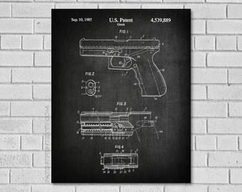 Glock Patent Print  - Glock Gun Art - Gun Decor - Gun Patent - gun patent - Glock Blueprint-Patent Art Historical Print - Patent Print G889