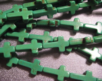Green Magnesite Turquoise Beads Cross 24pcs