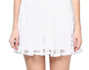 White Lace Polyester  Mini Skirts