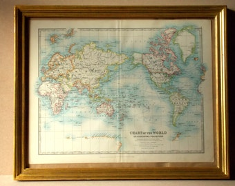 antique print chart of the world