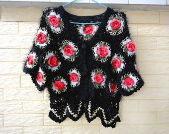 Black Crochet Floral Cropped Sweater Short Sleeve